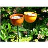 """Metalowy karmnik """"kwiatowy"""", pomarańczowy"""