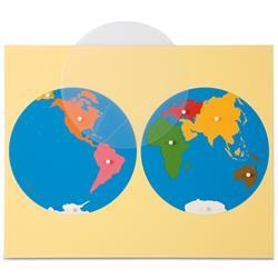 Mapa świata - dwie półkule-670